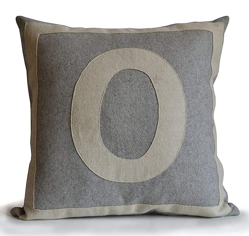 Amore Beaute Customisable Monogram Cushion Cover In Grey And Ivory Felt Handmade Woollen Felt Initial Pillow Amazon Co Uk Handmade