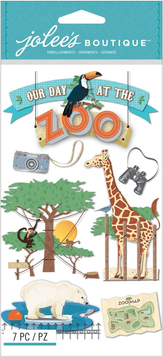 Our Day At The Zoo Animals Map Monkeys Polar Bear Giraffe Jolee/'s 3D Stickers