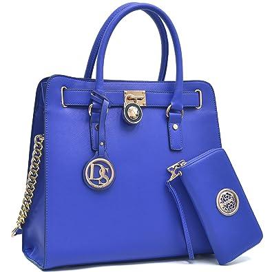 7f04a499d5cf Amazon.com  MMK collection Women Fashion Pad-lock Satchel handbags with  wallet(2553)~Designer Purse for Women ~Multi Pocket ~ Beautiful Designer  Handbag ...