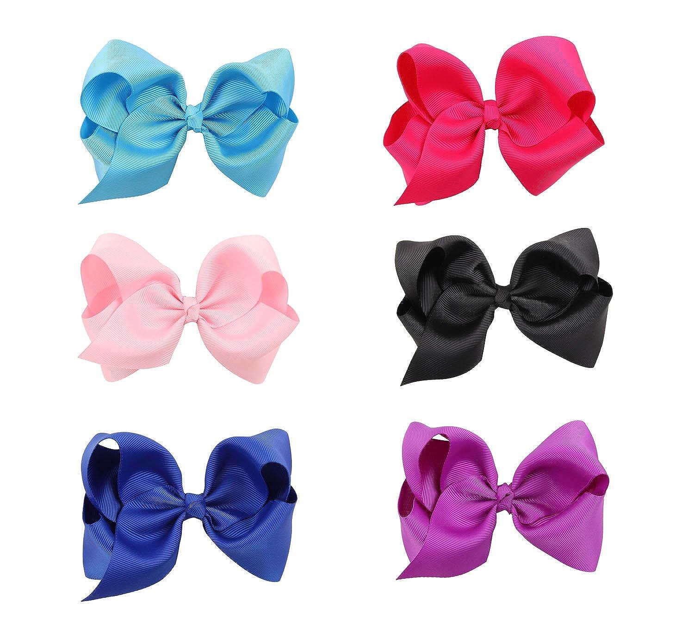 6 Piezas Bebé Bowknot Arco Vendas Tocado de la Flor Para Niñas Cabeza Accesorio (6 Piezas, 6 color)