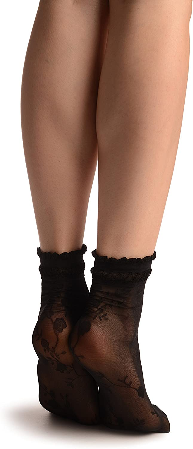 SA002905 Black With Roses And Silky Comfort Top Ankle High Socks