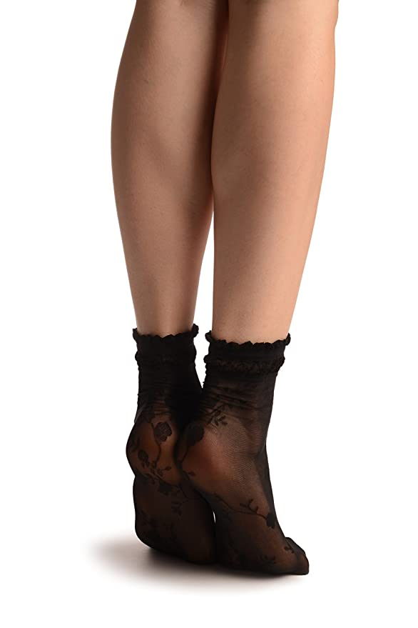 Black With Roses And Silky Comfort Top Ankle High Socks SA002905