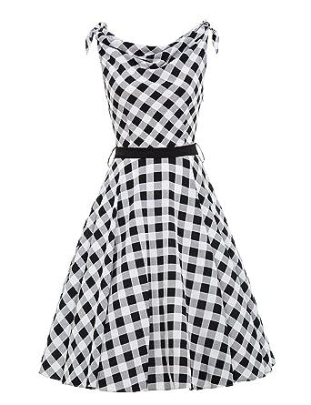 14c973e6f49b VKStar® A-Linie Vintage 1950s Sommer Damen Plaid Kleid Audrey Hepburn Style  Rockabilly Swing Abendkleid Cocktail Partykleid mit Gürtel  Amazon.de  ...