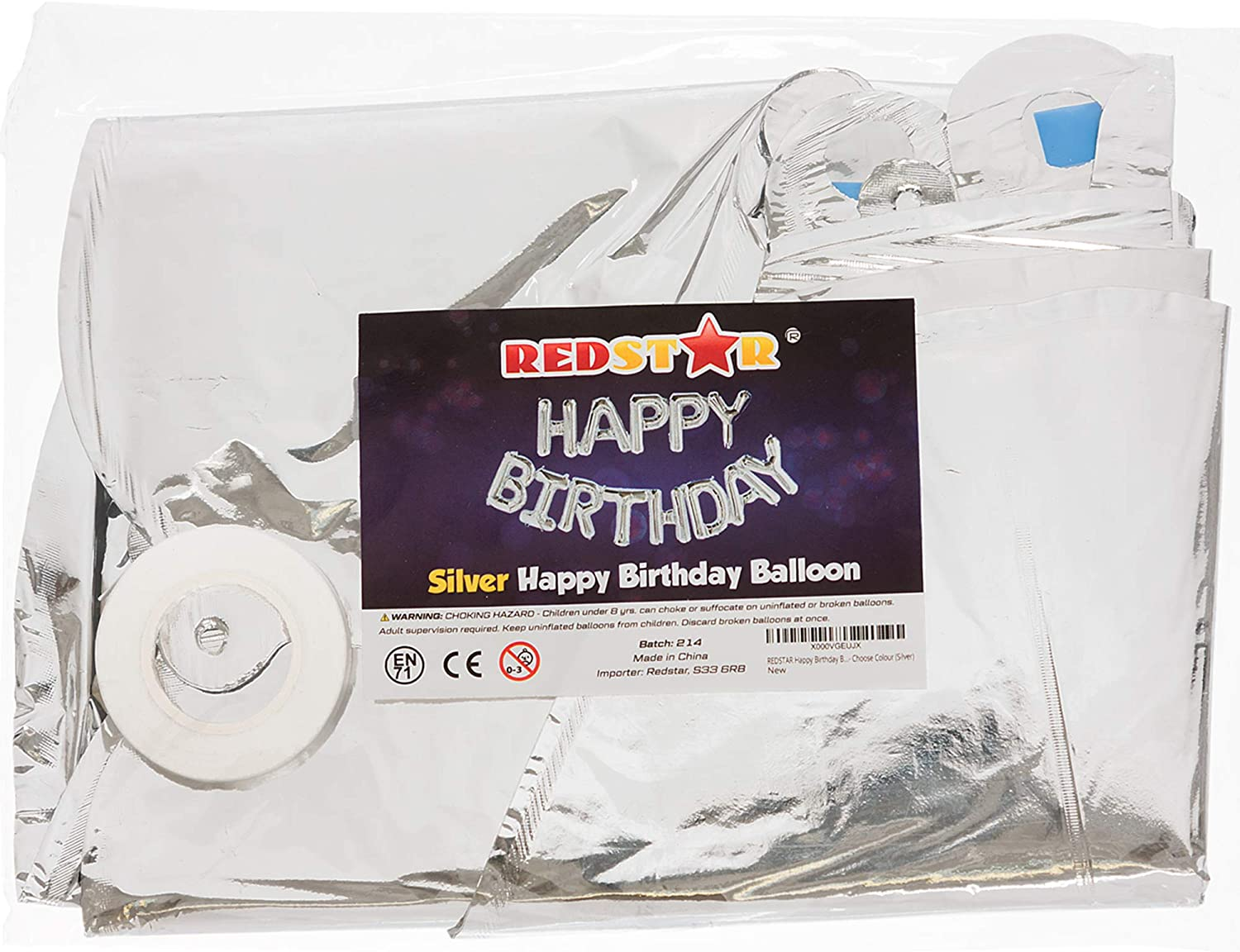 Gold REDSTAR Happy Birthday Balloons Choose Colour Self Inflating 16 Large Foil Banner Balloons