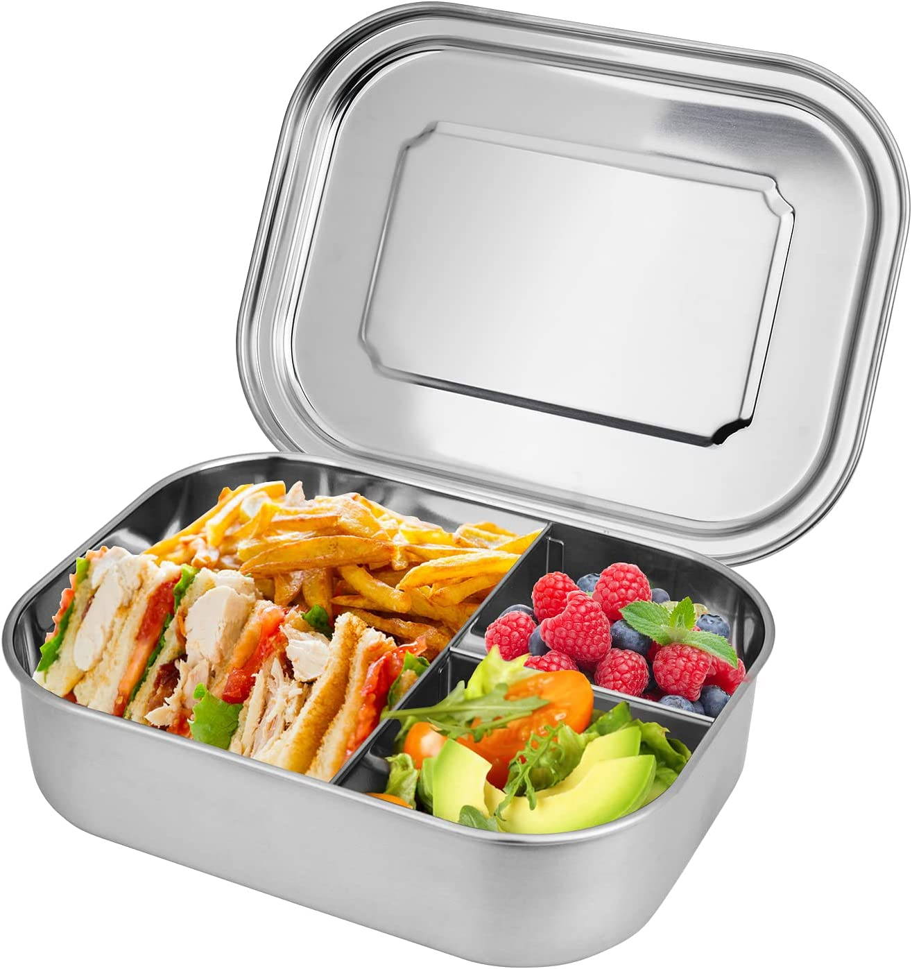 Stainless Bento Lunch Box 1400ML 304 Stainless Steel Lunch Container for Kids School Adults Tiffin Food Storage Containers with 3 compartment Fixed Divided Metal Snack Container-Stainless Lid