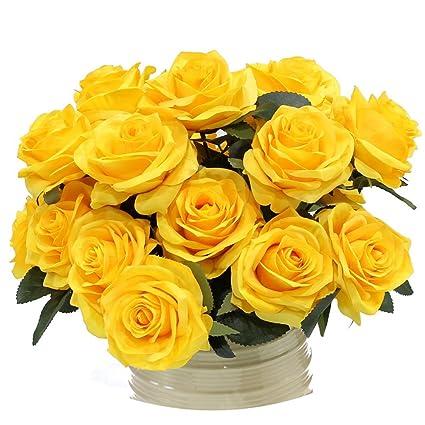 amazon com 10pcs artificial roses flower fake silk bridal for
