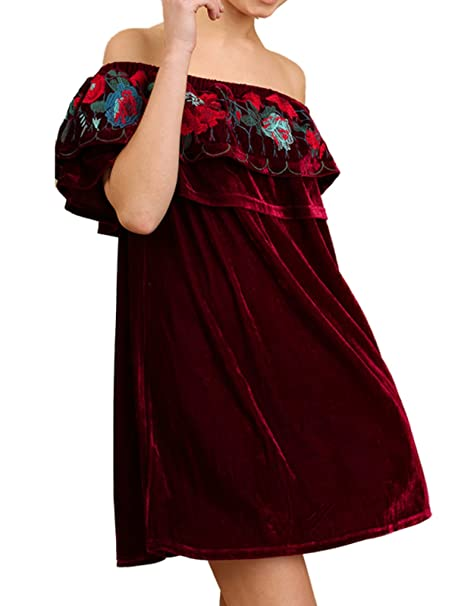 b3cf4958cf058 Umgee USA Off Shoulder Velvet Dress Embroidered Detail at Amazon Women s  Clothing store