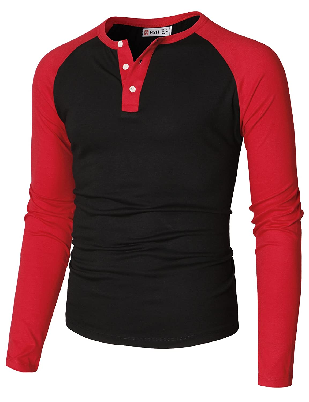 【H2H】ベーシック メンズ カジュアル ファッション オシャレ カラー ヘンリーネック 七分袖 ティーシャツ CMTTS0174 B07CRBP7BT XXXL|Cmttl0108-blackred Cmttl0108-blackred XXXL