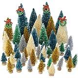Topbuti 48 Pcs Mini Christmas Trees Bottle Brush Trees Sisal Snow Frost Trees Diorama Tree with Wood Base for Christmas…