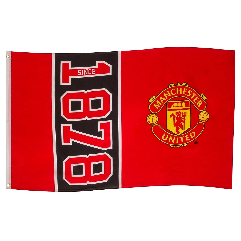 Bandiera ufficiale Manchester United FC - stemma del club - 152 x 91 cm - Rosso 1878