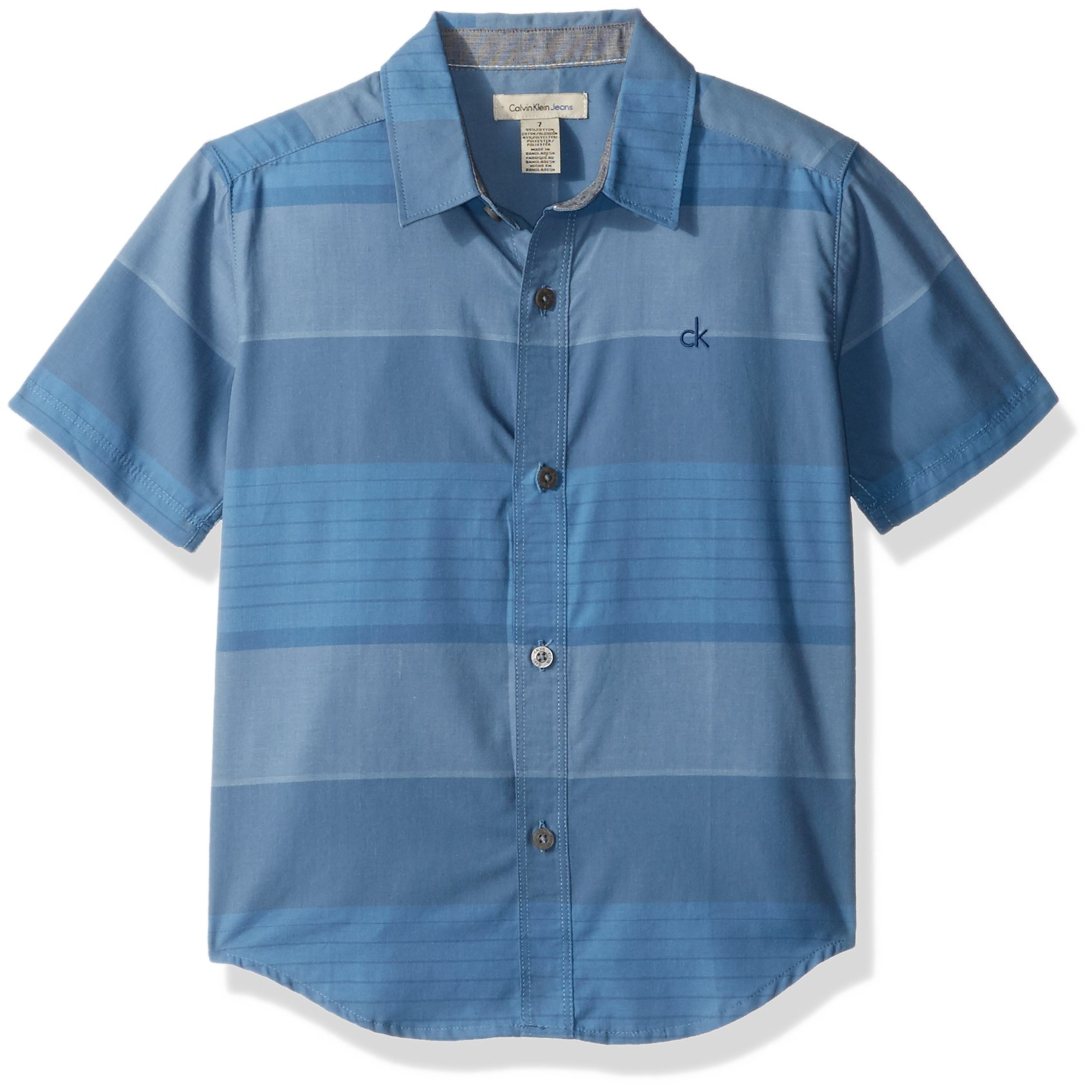 Calvin Klein Big Boys' Blocked Horizontal Stripe Short Sleeve Shirt, Dusk, Medium (10/12)
