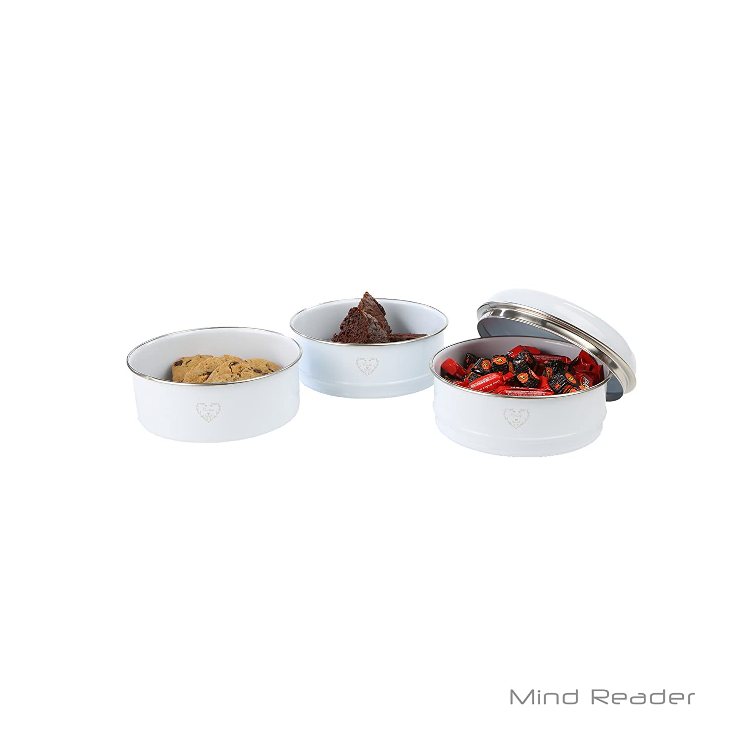 Mind Reader CANSTACK3-WHT 3 Piece Stacking Canister Set White