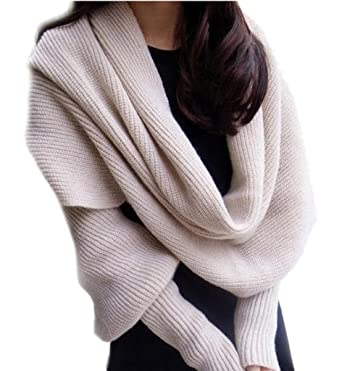 Couples Knitting With sleeves Multi-function Scarf 265*43cm Beige TM Bigood