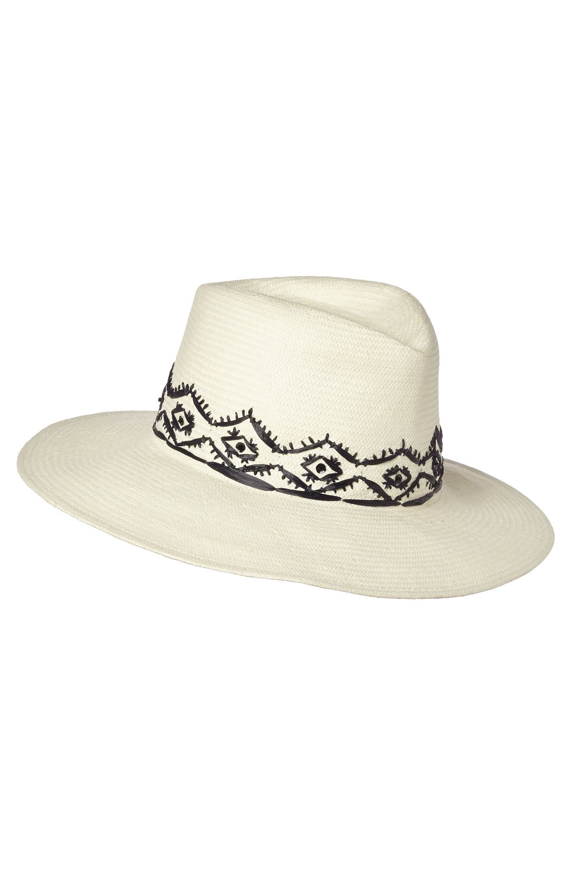 Gottex Women's Tulum Panama Fedora with Hand Embroidered Trim, Ivory, One Size by Gottex