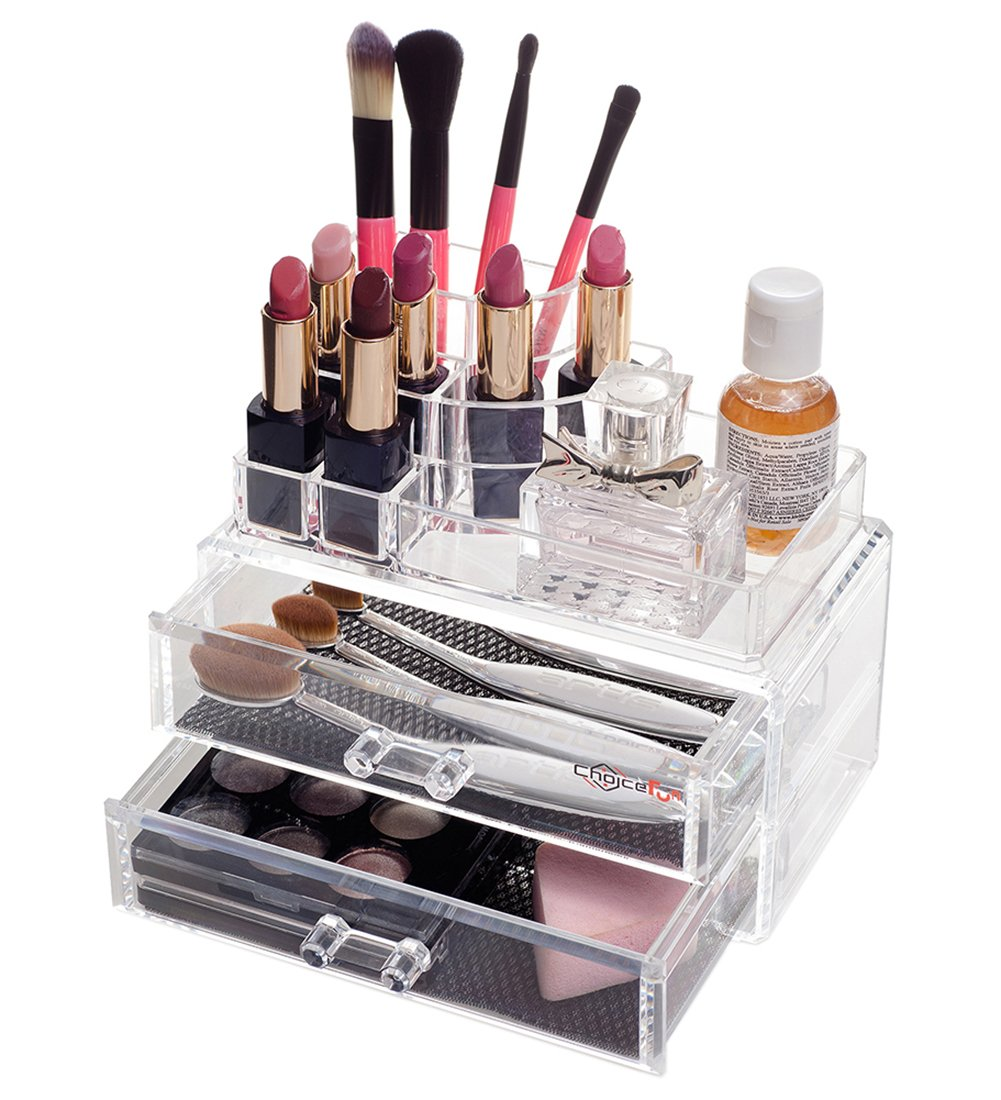 Choice Fun Detachable Acrylic Makeup Organizer Jewelry and Cosmetic Storage Case with 2 Drawers 7.2L x 4.3W x 6.2H CA-QFJJSN-ASF-1065 QFJJSN-NSF-1065