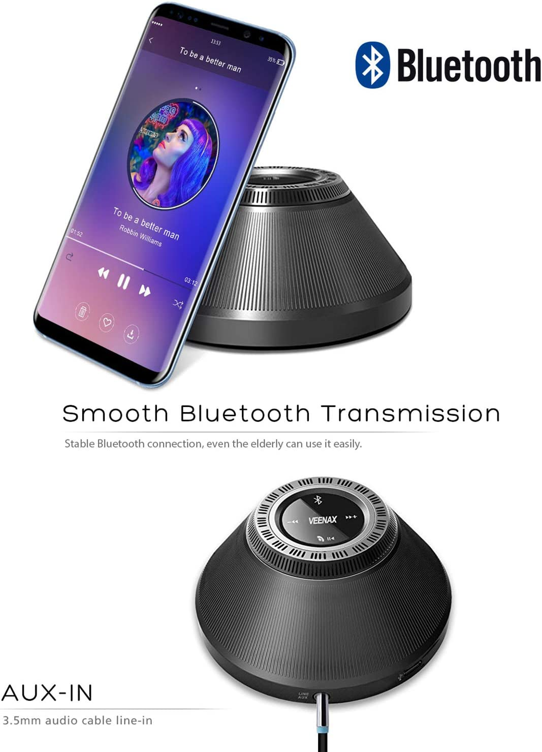 Built-in Mic Enhanced Bass Wireless Portable Speaker with Touch Screen 10-Hour Playtime Black Outdoor Stereo Speaker for Phone Computer PC Tablet MP3 VEENAX PS10 Bluetooth Mini Speakers