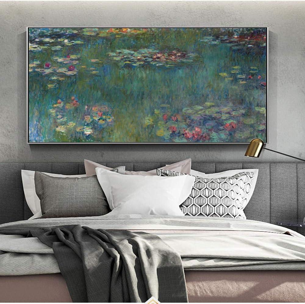 SQSHBBC Monet Nenúfares Lienzos Pinturas Reproducciones Impresionista Flor Carteles e Impresiones de Pared Cuadro para la decoración de la Sala de Estar 70x140cm sin Marco