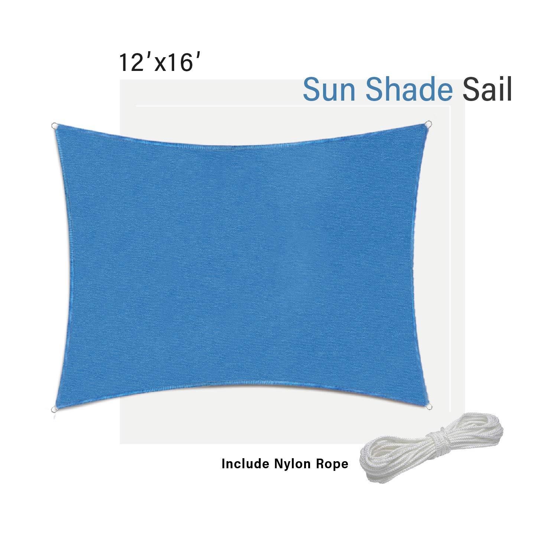 Green SunnyRoyal 8/' x 12/' Sun Shade Sail Gazebos for Patios Backyard Rectangle Shade Screen Deck UV Block Awing Fabric