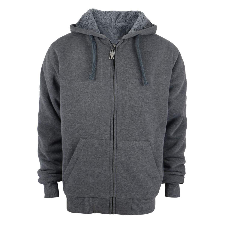 Tanbridge Heavyweight Sherpa Lined Plus Sizes Warm Fleece Full Zip Mens Hoodie with Padded Sleeve & Rib Cuffs