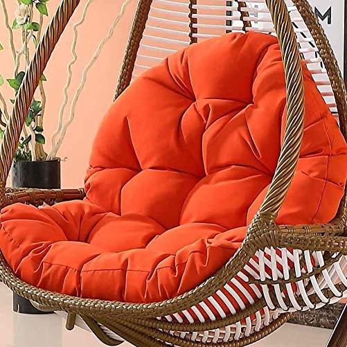 Wicker Rattan Hanging Egg Chair Pads,Non-Slip Soft Swing Chair Cushion Without Stand Indoor Balcony Pad Garden-Orange 120x86x15cm 47x34x6inch