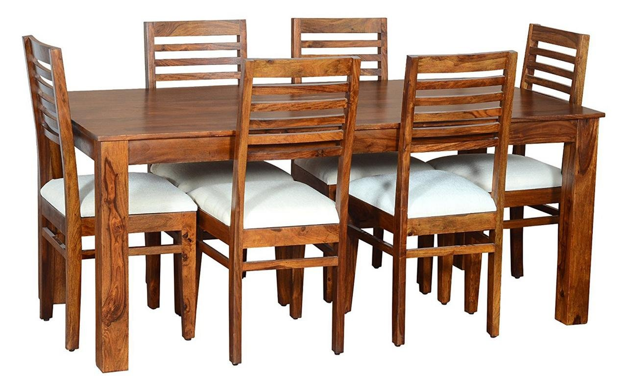 Modern style 6 seater rectangula dining table set teak wood shade with foldable dining table amazon in home kitchen