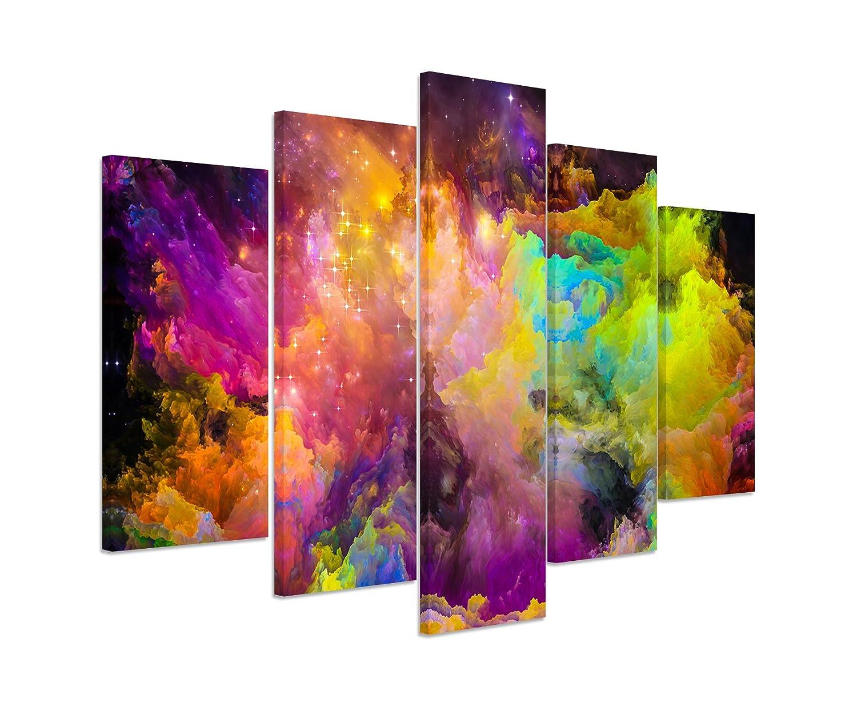 Bilderskulptur 5 teilig Breite 150cm x Höhe 100cm Knallige bunte Farbwolken auf Leinwand exklusives Wandbild moderne Fotografie für ihre Wand in vielen Größen