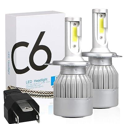 H4 LED Headlight Bulbs, 9003 HB2 Dual Hi/Lo Beam All-in-One Conversion Kit, 36W 3800LM Per Bulb: Automotive