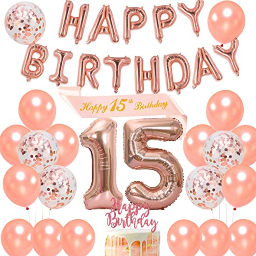 Dulce 15 decoraciones de cumpleaños niña, feliz 15 cumpleaños faja oro rosa feliz cumpleaños globo bandera para fiesta de quince cumpleaños: Amazon.es: Hogar