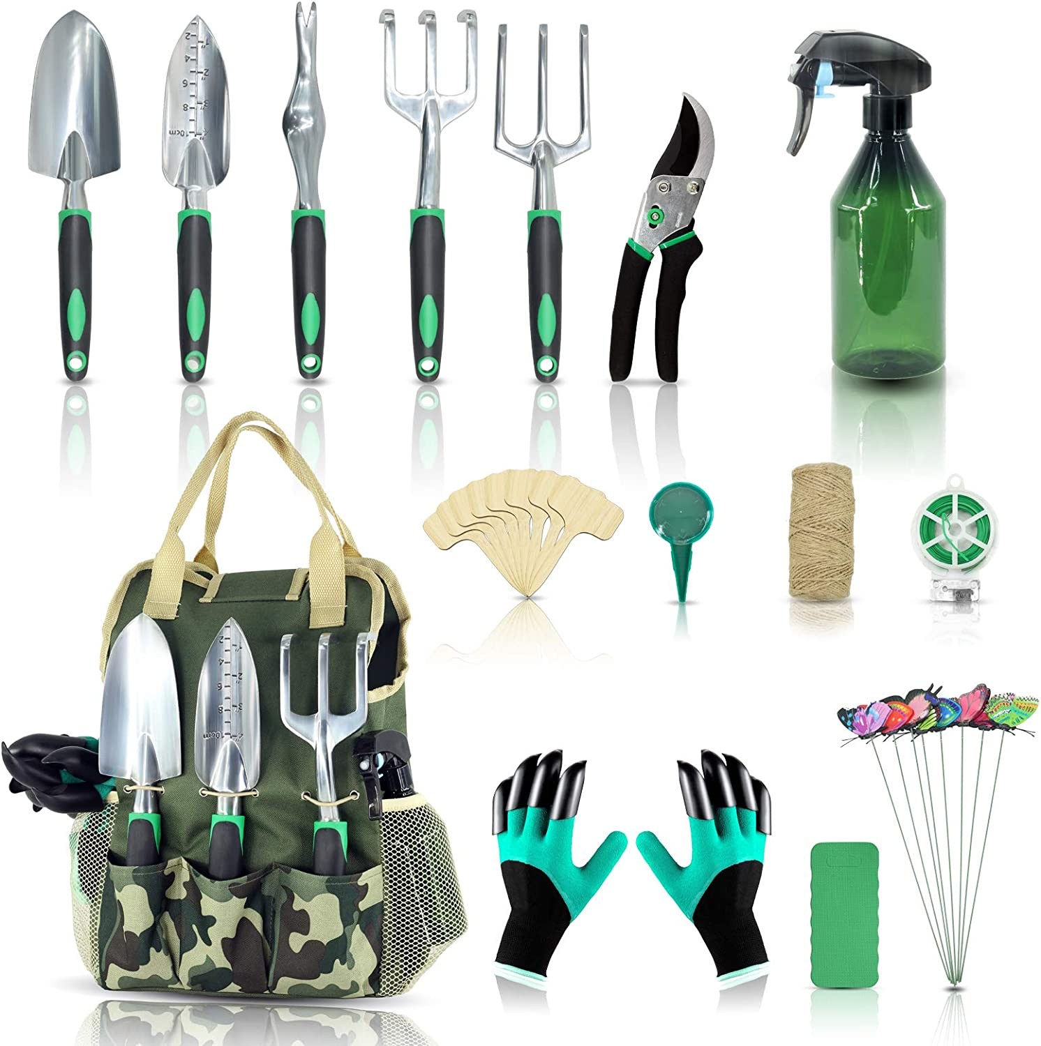 Garden Tool Set-Yartting 29 Piece, Heavy Duty Gardening Tools with Soft Rubberized Non-Slip Handle Tools, Handbag & Digging Gloves, Bypass Pruner Gifts for Women Men