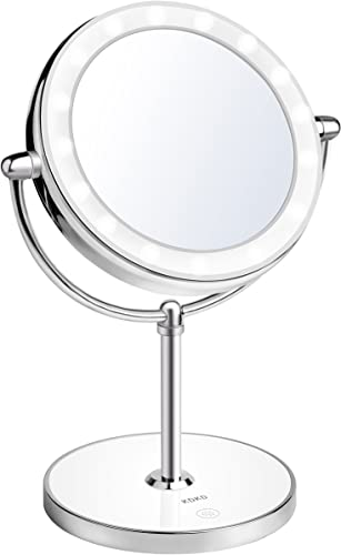 KDKD Lighted Makeup Mirror 7X 1X Two Sided Comestic LED Mirror, Cordless Rechargeable