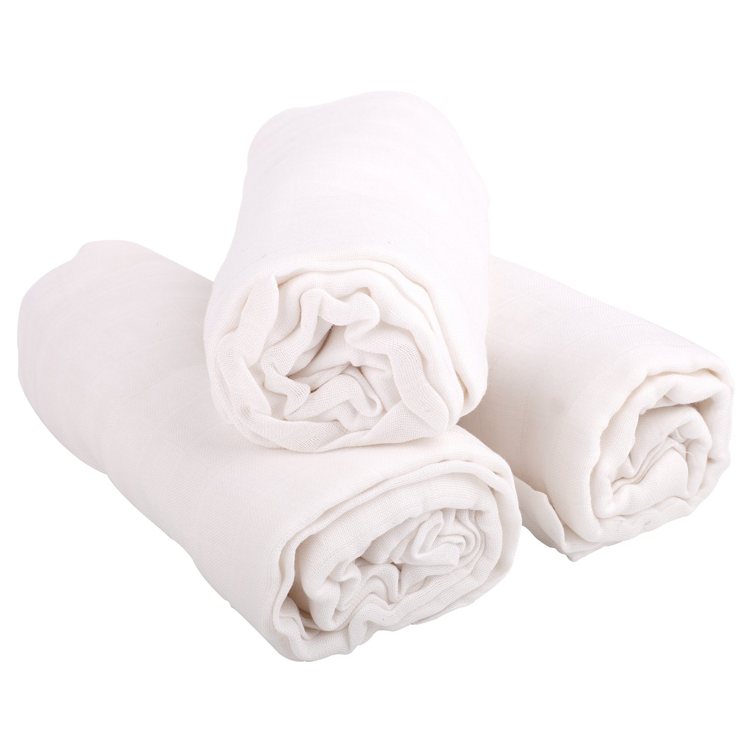 "WILD SOWN Premium Muslin Swaddle Blankets (3 Pack) - 100% Organic Lightweight Super Soft Bamboo Muslin Blanket - Ultimate Comfort Baby Sleep Essential, 47"" x 47"" (White)"