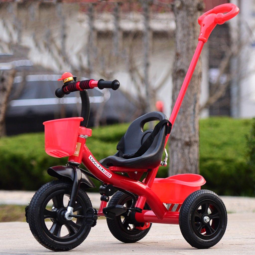 HAIZHEN 別倉庫からの配送 マウンテンバイク 安全 子供の三輪車リムーバブルプッシュハンドルインフレータブルホイールショックアブソーバ自転車1-5歳の後部収納バスケットベビーベビーカー 新生児 B07DL9S619赤