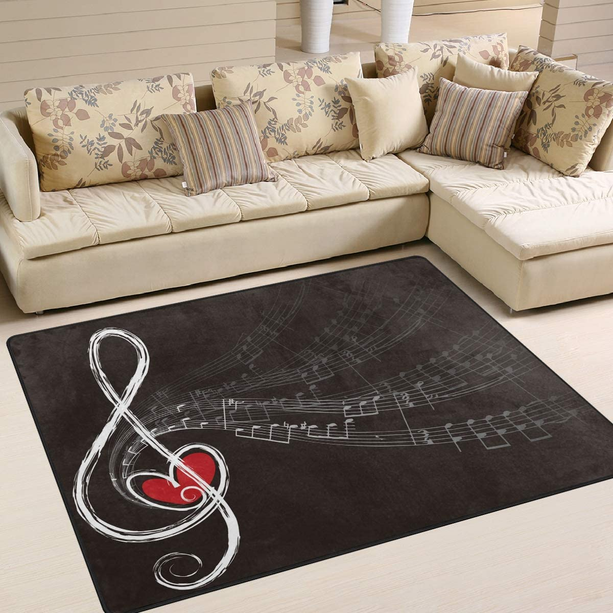ALAZA Hipster Music Note with Love Indoor Modern Area Rug 4 x 5 , Dining Room Home Bedroom Carpet Floor Mat Nursery Rug Room Mat