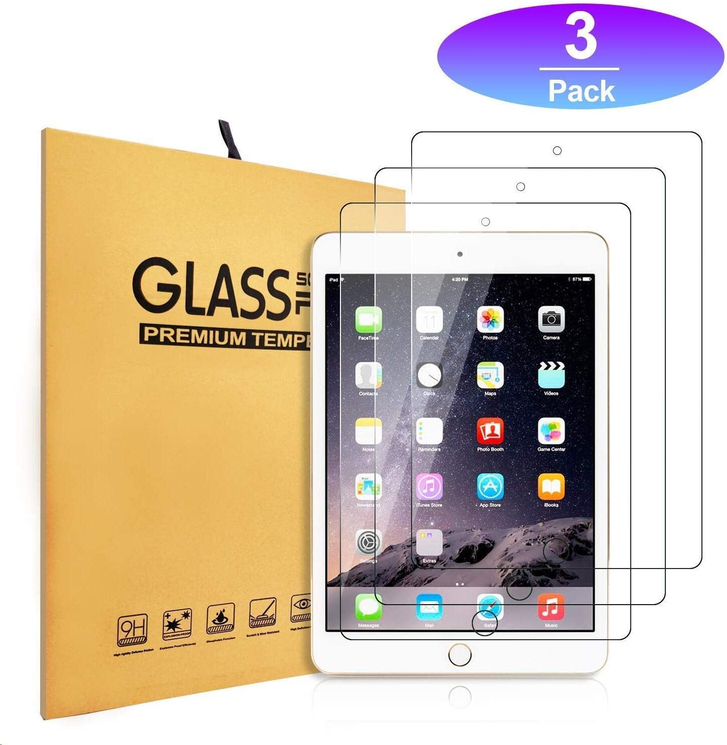 "iPad 9.7"" Tempered Glass Screen Protector [3-Pack] (2018/2017) / iPad Air 2 / iPad Pro 9.7 in/iPad Air Screen Protector,Apple Pencil Compatible, Anti-Scratch (3pcs)"