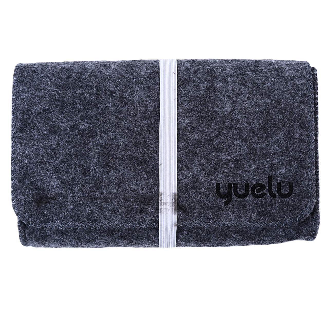 ZALING Mini Sofe Felt Pouch for Data Cable Mouse Travel Organizer Light Gray