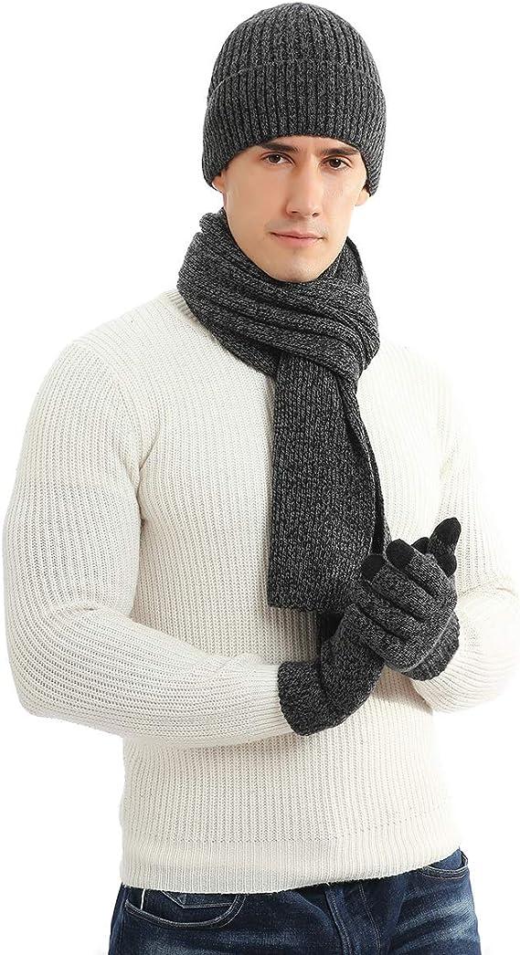 Strickm/ütze Warme Beanie M/ütze Winterschal mit Fleecefutter Touchscreen Handschuhe f/ür Damen und Herren LAUSONS M/ütze Schal Handschuhe Set