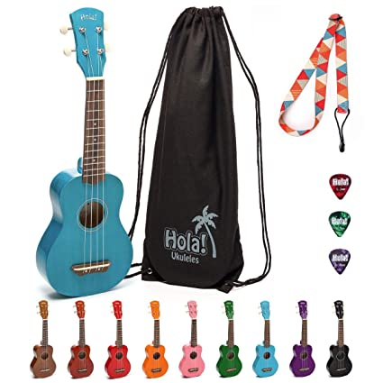 Hola! Music HM-21BU Soprano Ukulele Bundle with Canvas Tote Bag, Strap and Picks, Color Series, Blue best ukeleles