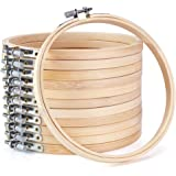 KINGSO Cross Stitch Hoop Embroidery Hoop Pieces Embroidery Circle Set Hoops Ring Wooden Round Adjustable Bamboo Hoops Bulk Crosses for Arts Crafts,Sewing