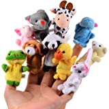ThinkMax Finger Puppets, Velvet Baby Story Time Props, Soft Educational Hand Puppet Set Dolls Toys for Baby and Toddlers (10 Pcs Animals)