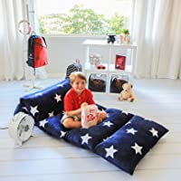 (King, Navy W/ Star) - Kids Floor Pillow Fold Out Lounger Fabric Cover for Bed and Game Rooms, Reading, Video Games or…