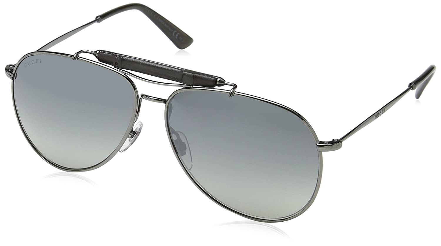 7f979db0f64d7 Amazon.com  Gucci Men s GG 2235 S Dark Ruthenium Grey Mirrored Silver   Clothing