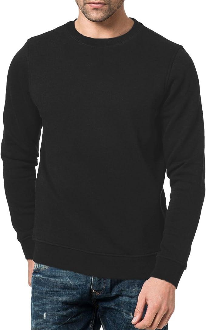New Men's Plain Sweats Crew Neck Brushed Fleece Tops Pull Over Jumpers Size S-XL