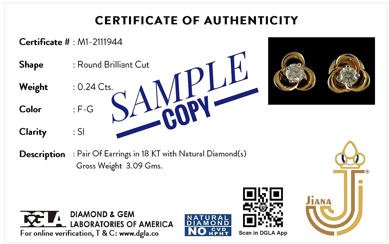 Lab Created Diamond Hoop Earrings For Women /& Girls Jiana Jewels 14K Rose Gold 0.34 Carat I-J Color, SI2-I1 Clarity