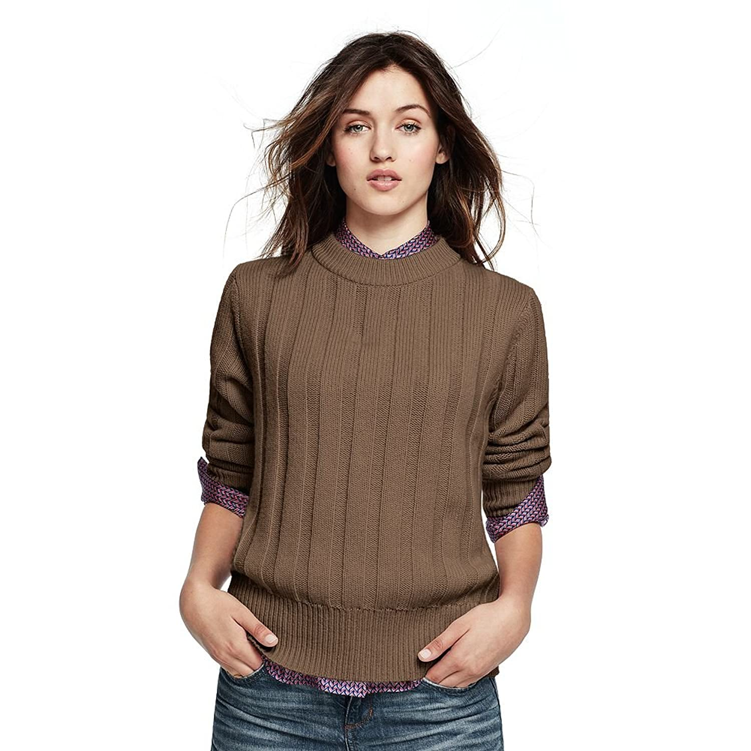 Canvas by Lands' End Women's Crew Neck Sweater