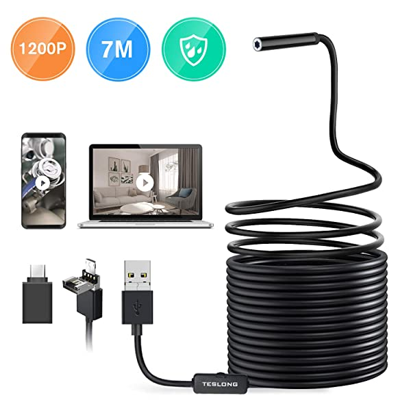 Teslong Endoscope for Android, 23ft Cable 2MP HD Borescope Inspection Camera with 6 Adjustable LED Lights, (2-in-1) Waterproof Snake Sewer Camera for