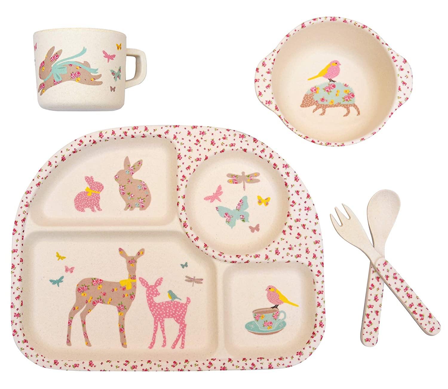 Bamboo 5pc Dinner Set ~ Vintage Floral Woodland Koko Kids