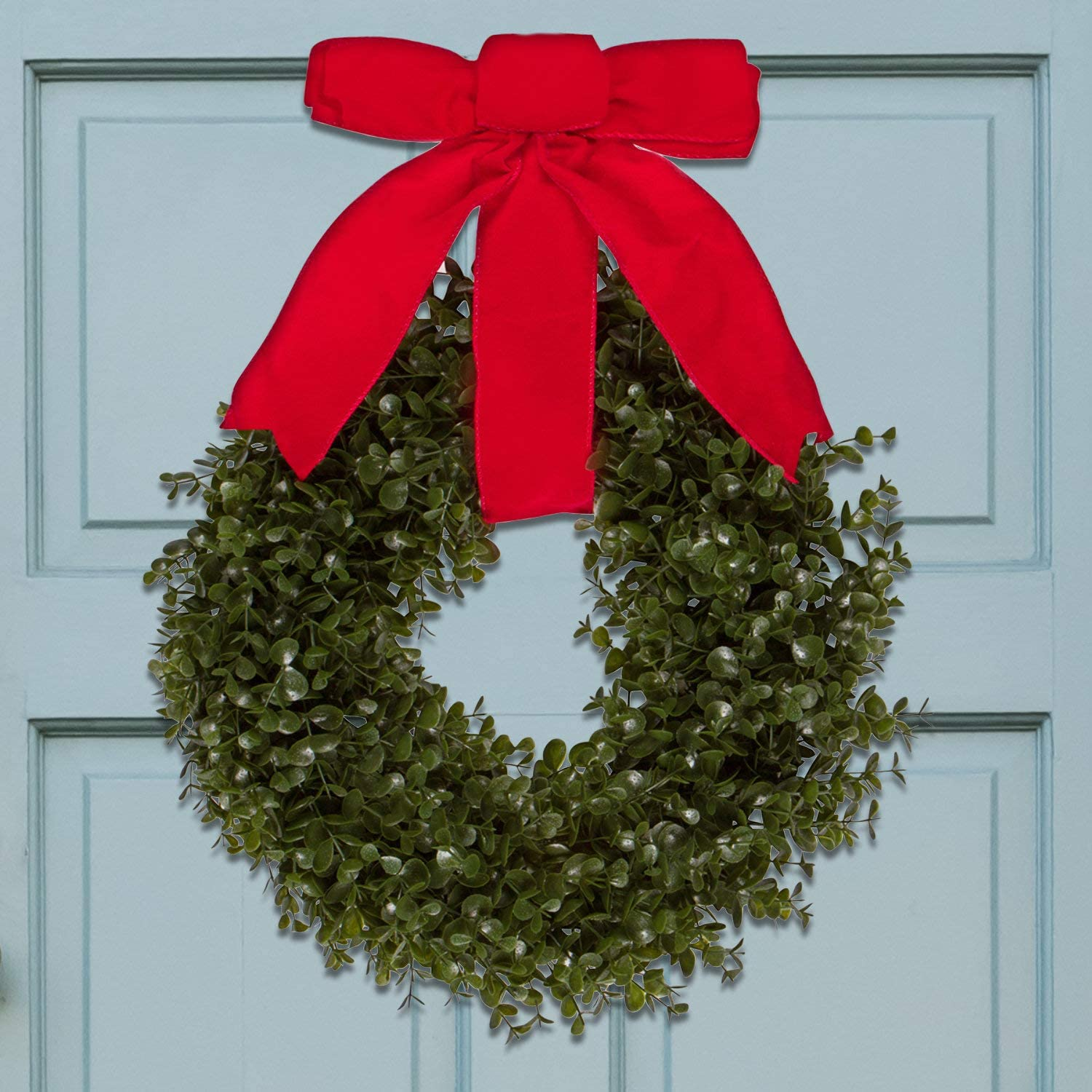 Orchid & Ivy 17-Inch Green Artificial Boxwood Wreath with Red Hanging Ribbon - Outdoor Indoor All-Weather Farmhouse Decor Front Door Wall Hanging Christmas Decoration