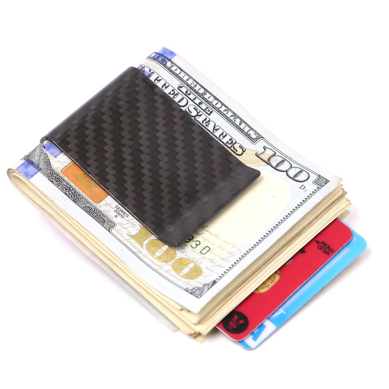 BLACK Carbon Fiber Minimalist Money Clip Front Pocket Cash & Card ...
