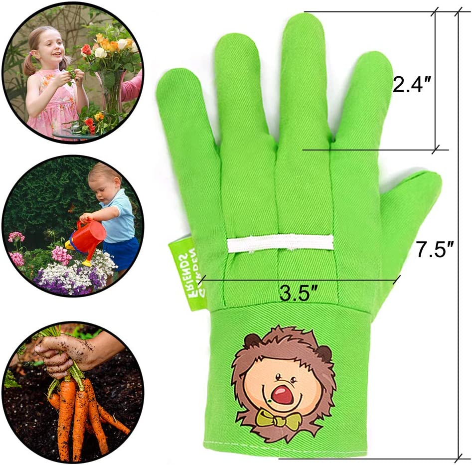 Hortem 3 Pairs Coloful Soft Kids Garden Gloves for 4-6 Years Old Children Size Cute Hedgehog Pattern Gardening Gloves Gifts for Yard Work