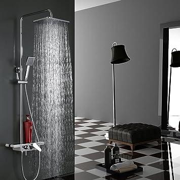 Homelody Zeitgenössische Chrom Dusche Set Dusche System Rechteckige